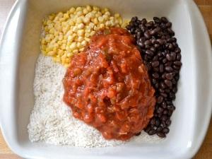 1 salsa rice beans corn