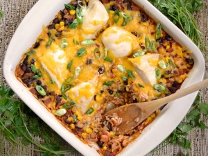 Salsa Chicken Casserole spoon